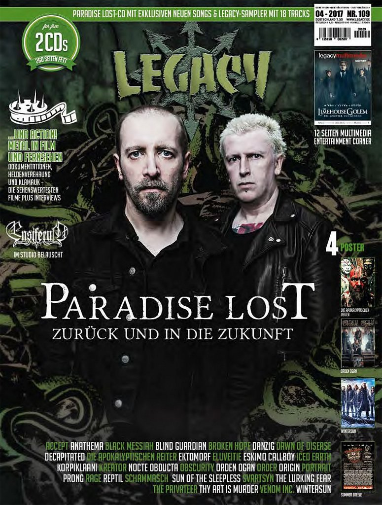 Paradise Lost (cover) // Legacy Magazine (Germany)
