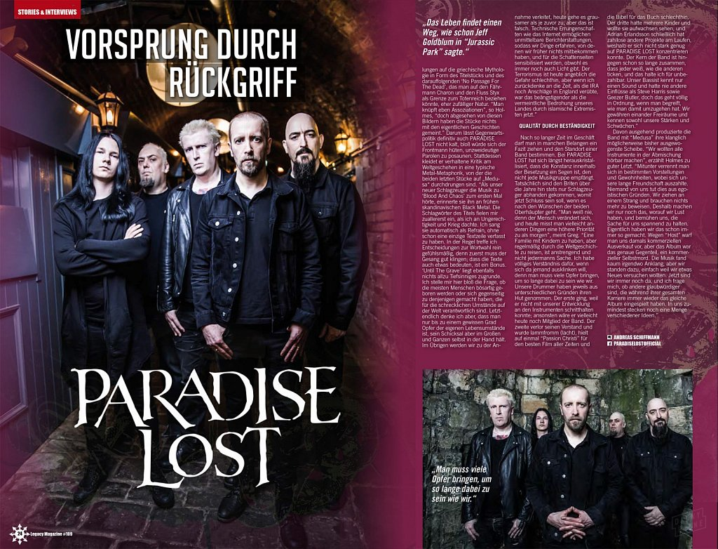 Paradise Lost // Legacy Magazine (Germany)